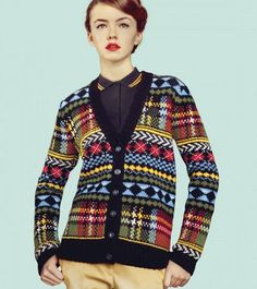 """""""Fred Perry - Fred Perry Fair Isle Cardigan"""" so sad to perpetuate the myth that all colour work with repeats is fair isle . Fred Perry, Perry Fair, Cardigan Pattern, Knit Cardigan, Plaid Pattern, Form Crochet, Knit Crochet, Fair Isle Pullover, Ravelry"""