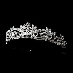 Emilie Elegant Silver Swirl Rhinestone Wedding Bridal Tiara *** You can find more details by visiting the image link. Bridal Crown, Bridal Tiara, Hair Jewelry, Wedding Jewelry, Wedding Earrings, Bridesmaid Jewelry, Jewlery, Fairytale Bridal, Bridal Veils And Headpieces