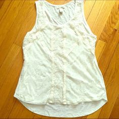 Lace overlay Tank Cream tank top with lace overlay front. Back slightly longer than the front. Tru Self size large. Tru Self Tops Tank Tops