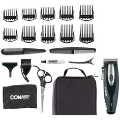 Conair Li-Ion Haircut Kit w/Deluxe Storage Case Styling Comb, Styling Tools, Barber Apron, Power Motors, Hair Clippers & Trimmers, Grooming Kit, Beard No Mustache, Motors