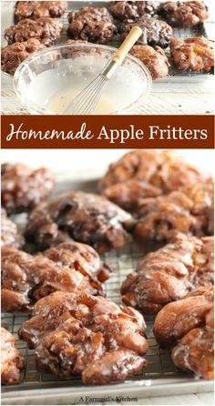 Apple Fritters are perfect for breakfast, brunch, or dessert.Homemade Apple Fritters are perfect for breakfast, brunch, or dessert. Easy Apple Fritters Recipe, Apple Fritter Recipes, Donut Recipes, Baking Recipes, Baked Apple Fritters, Apple Fritter Cake, Cinnamon Recipes, Fall Dessert Recipes, Köstliche Desserts