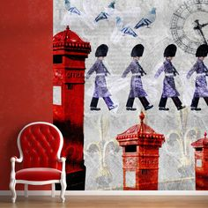 In Step mural, part of the All Things British wall coverings and murals collection by ATADesigns.