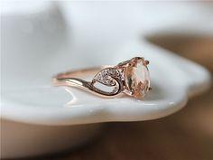 6x8mm Oval Cut Morganite Engagement Ring 14K Rose Gold