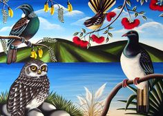 New Zealand flowering animated pictures - Saferbrowser Yahoo Image Search results Tui Bird, Maori Symbols, Thinking In Pictures, Altered Canvas, School Murals, New Zealand Art, Nz Art, Maori Art, Kiwiana