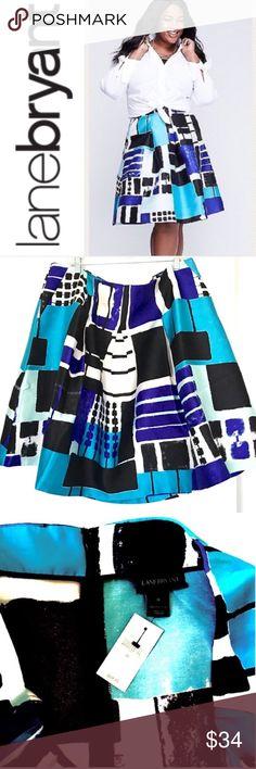 "Lane Bryant box pleat skater skirt plus 26 28 Lane Bryant box pleat skater skirt, abstract print, 100% poly fabric, hook-eye with zip closure, slit side pockets, approximate measurements: plus sz 26 waist = 45"" length = 25""  plus sz 28 waist = 47"" length = 25""  NWT   Lane Bryant blue black skater box pleat skirt Lane Bryant Skirts Circle & Skater"