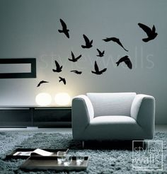 Flying Birds Wall Decal, Birds Wall Sticker Flying Birds Set of 12 - Vinyl Wall Decal for Office Home Decor Room Art