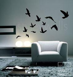 Flying Birds Wall Decal, Birds Wall Sticker Flying Birds Set of 12 - Vinyl Wall Decal for Office Home Decor Room Art