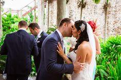 Outrigger Fiji Beach Resort Wedding Planning Ideas Inspiration Outdoor Tropical Nature Garden Groom and Bride Veil Dress Tuxedo Kiss Floral Reception Beach Green