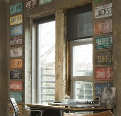 A hip work space, featuring license plate artwork by Spicher&Co.