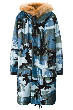 "ASHISH UNISEX BLUE CAMO SEQUIN PARKA Long blue camo sequined coat featuring two front pockets, drawstring hem, faux fur-lined hood, and cheetah-print faux fur lining. Made in India. Lining: 100% polyester. Trim: 85% acrylic, 15% polyester. SIZE & FIT Unisex fit. ASHISH Ashish Gupta likes sequins. Like, a lot. Since appearing on the London fashion scene in 2011, the designer has carved out his place as the ""King Of Sequins"" with his pieces handcrafted in India."