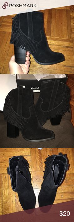 Black Suede Booties Black suede booties, tried on but never worn, in excellent condition! Purchased from Charlotte Russe😉 mark&maddux (from Charlotte Russe) Shoes Ankle Boots & Booties