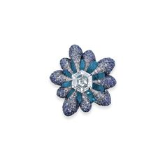 A MULTI-GEM RING, BY WALLACE CHAN. Centering on a hexagonal-shaped diamond, atop a topaz, to the stylized pavé-set circular-cut diamond and sapphire prongs, mounted in titanium, ring size 6 ¼. Signed Wallace Chan. #WallaceChan #HauteJoaillerie #FineJewelry