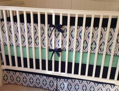 Navy Mint and Gray Ikat Crib Set Ready to by butterbeansboutique