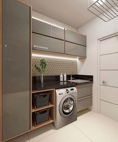 functional and stylish laundry room design ideas to inspire 41 Modern Laundry Rooms, Laundry Room Layouts, Laundry Room Cabinets, Laundry Room Organization, Storage Organization, Organizing, Küchen Design, House Design, Design Ideas