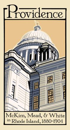 Silk screen print of the Rhode Island State House, Providence, Rhode Island. Mead, Providence Bruins, Taj Mahal, Rhode Island History, Historic New England, Poster Vintage, House Restaurant, Historical Architecture, Silk Screen Printing