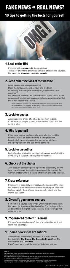 Students struggling to discern real news from fake? Check out this great infographic. // Article by Stone Soup Creative