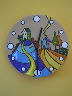 Cuerda seca Ceramic Wall Art, Ceramic Painting, Ceramic Pottery, Space Crafts, Arts And Crafts, Clock Painting, Bee Creative, Hand Built Pottery, Clay Tiles