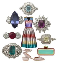 """Gemstones Galore! NEW IN at AC Silver!"" by ac-silver ❤ liked on Polyvore featuring Marco de Vincenzo, Trilogy, Jimmy Choo and vintage"