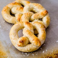 30 minute Homemade Soft Pretzels - I made one batch with garlic powder and another with grated Parmesan cheese & truffle oil - yum.