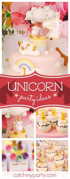 Take a look at this colorful unicorn 1st birthday party! The cake pops are so cute!! See more party ideas and share yours at CatchMyParty.com #catchmyparty #partyideas #unicornbirthdayparty #1stbirthdayparty