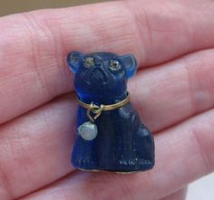 Sweet VINTAGE Blue Pug Dog Czech Glass Cracker by Homefarmcottage, $35.00