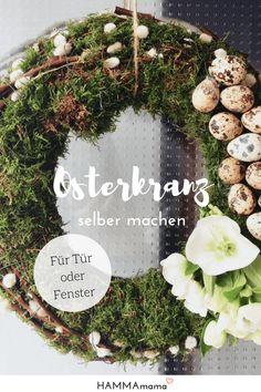 Kranz für die Haustür für Ostern selber machen_Dekoration aus der Natur mit Moos und Zweige #ostern #frühling #kranz