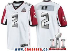 Men's Atlanta Falcons #2 Matt Ryan White With Silver 2017 Super Bowl LI Patch Stitched NFL Limited Jersey
