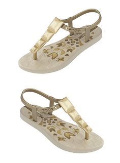 adorable gold t-strap sandals for kids! #ipanemas