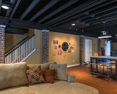 Exposed Basement Ceiling (basement Ceiling Ideas) #exposed #basementceiling  #ideas Basement Ceiling