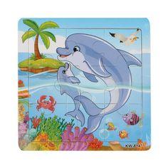 2016 de Alta Calidad de Delfines Rompecabezas De Madera Juguetes Para niños Juguetes Educativos Rompecabezas Rompecabezas Puzzle Niños juguetes Rompecabezas De Madera de juguete