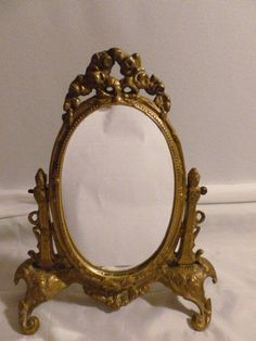 GORGEOUS ANTIQUE DRESSER STAND MIRROR GOLD FRAMED ORNATE FOOTED