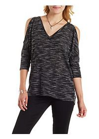 Sweater Knit Cold Shoulder Tunic Top