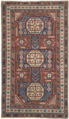 Caucasian Baku, 3ft 6in x 5ft 11in, 3rd Quarter, 19th Century.     In a tremendously successful variation on the architectural design traditional to Caucasian Baku antique carpets, the field of this 150-year-old Caucasian rug is replete with multiple delightful bird, diamond, Tree of Life, and Star of Wisdom forms. Note the intriguing simplicity of the well-spaced sunburst motifs of the antique ivory main border. This strongly collectible Caucasian antique rug is also extremely well…