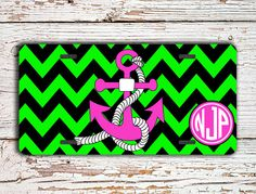 Monogrammed front license plate  Chevron in lime green and black with hot pink by #ToGildTheLily - #chevron #monogrammedlicenseplate #monogrammedgift