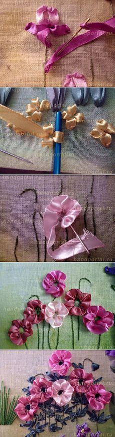 Wonderful Ribbon Embroidery Flowers by Hand Ideas. Enchanting Ribbon Embroidery Flowers by Hand Ideas. Ribbon Embroidery Tutorial, Silk Ribbon Embroidery, Embroidery Patterns, Hand Embroidery, Embroidery Supplies, Embroidery Stitches, Machine Embroidery, Handkerchief Embroidery, Embroidery Books