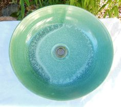 Turquoise Vessel Sink Pottery by RikaBluePottery on Etsy, $425.00