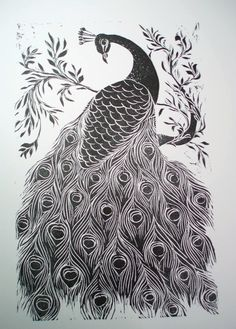 Black and White Peacock Print by ARTonStuff on Etsy, £80.00