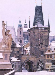 Charles Bridge in snow, Prague, Czech