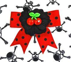 Cherry Sparkle Black Geranium and XL Dots Hair Bow by PunkUpBettie