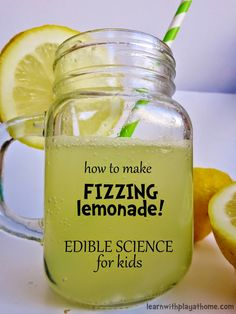 Learn with Play at Home: How to make Fizzing Lemonade. Edible Science for Kids. for kids How to make Fizzing Lemonade. Edible Science for Kids. Summer Science, Science Party, Preschool Science, Elementary Science, Science Experiments Kids, Science Fair, Science For Kids, Teaching Science, Science Education