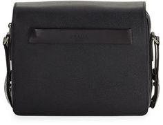 Prada Men's Leather Messenger Bag, Black