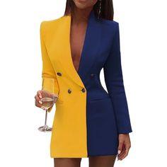 Colorblock Patchwork Blazer Dress Women Doubled Breasted Office Dress Elegant Notched Collar Short Blazer Dresses Workwear, Blue / S Trend Fashion, Suit Fashion, Look Fashion, Blazer Fashion, Fashion Today, 70s Fashion, Cheap Fashion, Korean Fashion, Fashion Online