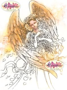 Digital Stamp Instant Download - Leanne's Angel - Beautiful Angel with Roses and Bird - digistamp - Fantasy Line Art for Cards & Crafts