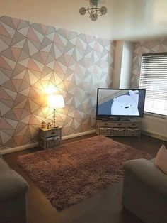 Real Rooms, Real Homes, Real People | What do you get if you merge two of the biggest 2017 trends into one super wallpaper? Apex Geometric Rose Gold of course |