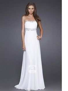 Empire Strapless White Beading Chiffon Floor-length Dress at Dresseshop different color though