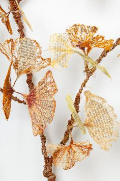 "'Amnesia' detail - art by Lisa Kokin; this work is ""Fauxliage"" – fake leaves . - 'Amnesia' detail – art by Lisa Kokin; this work is ""Fauxliage"" – fake leaves made from - Textiles, Thread Art, Detail Art, Leaf Art, Environmental Art, Textile Artists, Art Plastique, Fabric Art, Medium Art"