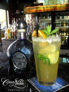 """""""The Noblejito"""". This fresh Cocktail is made with Casa Noble Reposado, Sugar, Lime Juice and Club Soda."""