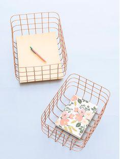 copper wire baskets.
