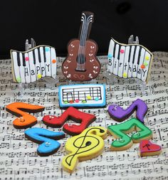 Colorful Birthday Music Cookies #music #cookies