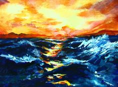 Master Class Series Oceans and Waves: This sunset over the ocean is a fun painting for beginners and advanced artists It is a Free one hour art lesson on you tube. see Ginger Cook LIve. #gingercook  #art